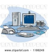 Vector Clip Art of Retro Desktop Computer Work Station Set up by Lal Perera