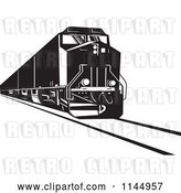 Vector Clip Art of Retro Diesel Train by Patrimonio