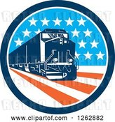 Vector Clip Art of Retro Diesel Train in an American Circle by Patrimonio