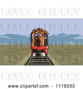 Vector Clip Art of Retro Diesel Train on Tracks in a Flat Landscape with Mountains in the Distance by Patrimonio