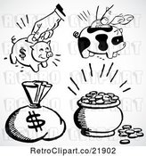 Vector Clip Art of Retro Digital Collage of a Money Sack, Piggy Banks and Coins by BestVector