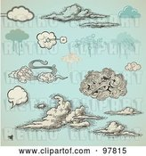 Vector Clip Art of Retro Digital Collage of and Grungy Styled Clouds over Antique Blue by Anja Kaiser