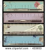 Vector Clip Art of Retro Digital Collage of Antique Ink Pen Banners by Anja Kaiser