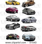 Vector Clip Art of Retro Digital Collage of Coupes,, and Sports Cars by