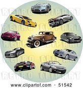 Vector Clip Art of Retro Digital Collage of Coupes, Classic and Sports Cars in a Circle by