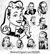 Vector Clip Art of Retro Digital Collage of Men and Women Using Phones by BestVector