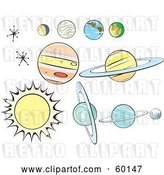 Vector Clip Art of Retro Digital Collage of Planets and Stars on White by Xunantunich