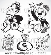 Vector Clip Art of Retro Digital Collage of Rich Men, Money Sacks and a Piggy Bank by BestVector