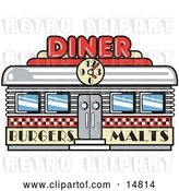Vector Clip Art of Retro Diner Building with a Clock on It and Signs Advertising Burgers and Malts by Andy Nortnik