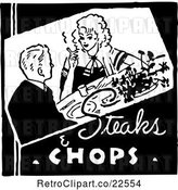 Vector Clip Art of Retro Dining Couple and Steaks and Chops Text by BestVector