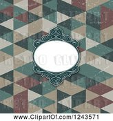 Vector Clip Art of Retro Distressed Geometric Background with an Ornate Frame by KJ Pargeter