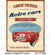 Vector Clip Art of Retro Distressed Race Car and Text by Eugene