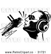Vector Clip Art of Retro Dj or Singer with a Microphone by Frisko