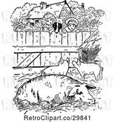 Vector Clip Art of Retro Dog and KChildren Looking into a Pig Pen by Prawny Vintage