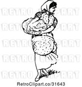 Vector Clip Art of Retro Domestic Housewife Carrying Laundry by Prawny Vintage