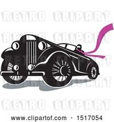 Vector Clip Art of Retro Driver Wearing a Long Purple Scarf in a Convertible Automobile by Patrimonio