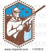Vector Clip Art of Retro Duck Hunter Holding a Shotgun by a Mountainous Lake by Patrimonio