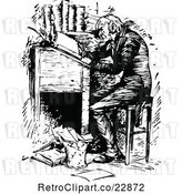 Vector Clip Art of Retro Ebenezer Scrooge Working at a Desk by Prawny Vintage