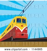 Vector Clip Art of Retro Electric Train over Blue by Patrimonio