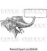 Vector Clip Art of Retro Elephant Holding a Sign with Its Trunk 2 by Prawny Vintage