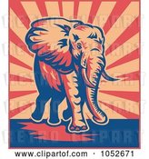 Vector Clip Art of Retro Elephant Walking over Beige and Red Rays by Patrimonio