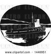 Vector Clip Art of Retro Engraved or Woodcut Styled River Tugboat in by Patrimonio