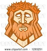 Vector Clip Art of Retro Face of Jesus Christ with a Crown of Thorns by Patrimonio