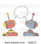 Vector Clip Art of Retro Faded Robots Sharing an Idea by Mheld
