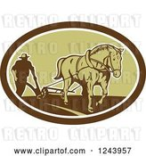 Vector Clip Art of Retro Farmer and Horse Plowing a Field in an Oval by Patrimonio