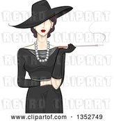 Vector Clip Art of Retro Fashionable Lady in a Style Hat and Dress, Smoking a Cigarette with a Long Filter by BNP Design Studio