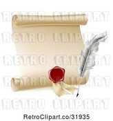 Vector Clip Art of Retro Feather Quill Pen, Wax Seal and Blank Scroll by AtStockIllustration