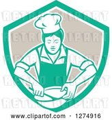 Vector Clip Art of Retro Female Chef Mixing Ingredients in a Bowl Inside a Green White and Taupe Shield by Patrimonio