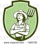 Vector Clip Art of Retro Female Farmer Holding a Pitchfork in a Green and White Shield by Patrimonio