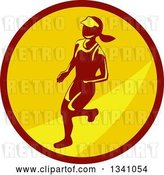 Vector Clip Art of Retro Female Marathon Runner in a Brown and Yellow Circle by Patrimonio