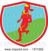 Vector Clip Art of Retro Female Marathon Runner in a Shield by Patrimonio