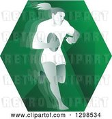 Vector Clip Art of Retro Female Rugby Player Running in a Green Hexagon by Patrimonio
