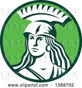 Vector Clip Art of Retro Female Spartan Warrior in a Green and White Circle by Patrimonio