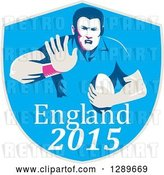 Vector Clip Art of Retro Fending Rugby Union Player with Ball in a Blue England 2015 Shield by Patrimonio