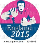 Vector Clip Art of Retro Fending Rugby Union Player with Ball in a Pink and Blue England 2015 Circle by Patrimonio