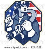 Vector Clip Art of Retro Fire Fighter Guy Holding a Hose on His Shoulders over an American Flag by Patrimonio