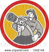 Vector Clip Art of Retro Firefighter Aiming a Hose in a Yellow and Red Circle by Patrimonio