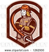 Vector Clip Art of Retro Firefighter Encircled with a Hose in a Brown Shield by Patrimonio