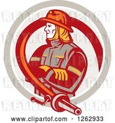 Vector Clip Art of Retro Firefighter Encircled with a Hose in a Circle by Patrimonio