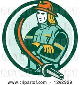 Vector Clip Art of Retro Firefighter Encircled with a Hose in a Green and White Circle by Patrimonio