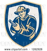 Vector Clip Art of Retro Firefighter Holding a Hose in a Yellow Blue and Taupe Shield by Patrimonio