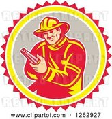 Vector Clip Art of Retro Firefighter Holding a Hose in a Yellow Gray White and Red Circle by Patrimonio
