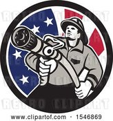 Vector Clip Art of Retro Firefighter Holding a Hose in an American Flag Circle by Patrimonio