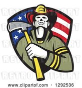 Vector Clip Art of Retro Firefighter Holding an Axe in an American Flag Shield by Patrimonio