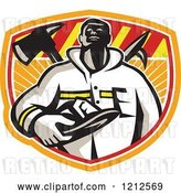 Vector Clip Art of Retro Firefighter Holding His Helmet over a Fire Axe and Hook in a Shield by Patrimonio
