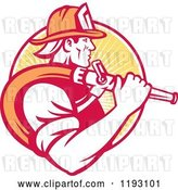 Vector Clip Art of Retro Firefighter in Profile, Carrying a Hose over His Shoulder, Against a Yellow Ray Circle by Patrimonio